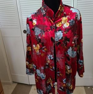 Slinky Brand Floral Mid Length Open Front Jacket